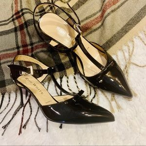 RON WHITE Black Leather T Strap Bow Stiletto Heels